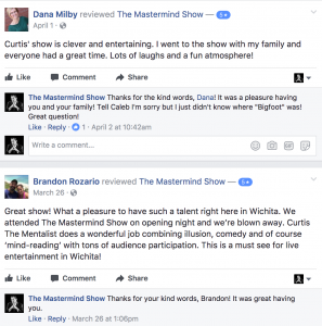Facebook Reviews of Wichita's Mastermind Show