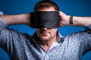 Curtis The Mentalist Blindfolded Headshot by Kacy Meinecke Photography