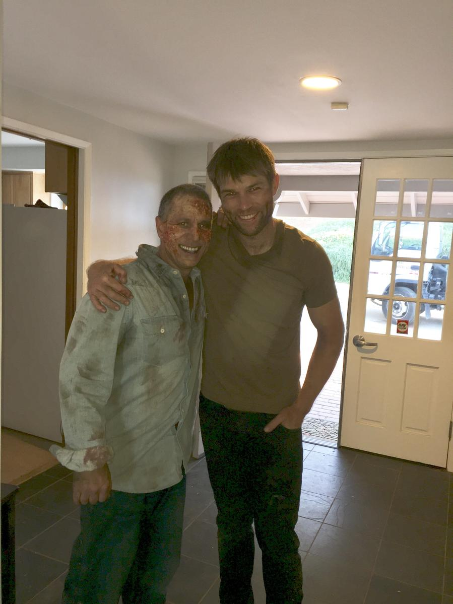 Jeff Bornstein with actor Liam McIntyre on the set of the movie The Clearing (2020)