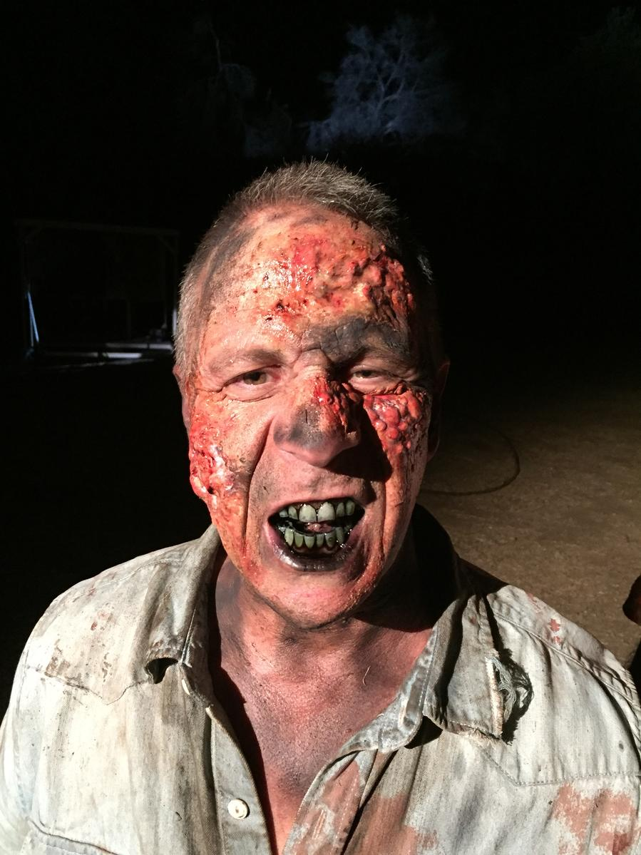 Jeff Bornstein in zombie make up for the movie The Clearing (2020)