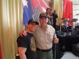 U.S Army veteran, actor, stuntman and magician Jeff Bornstein poses with R. Lee Ermey after a show in Myanmar