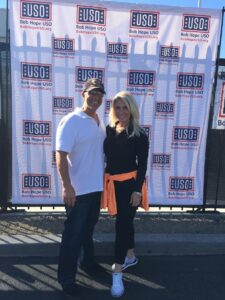 Dynamic Mind-Reading Duo Jeff and Kimberly Bornstein pose after a USO show.