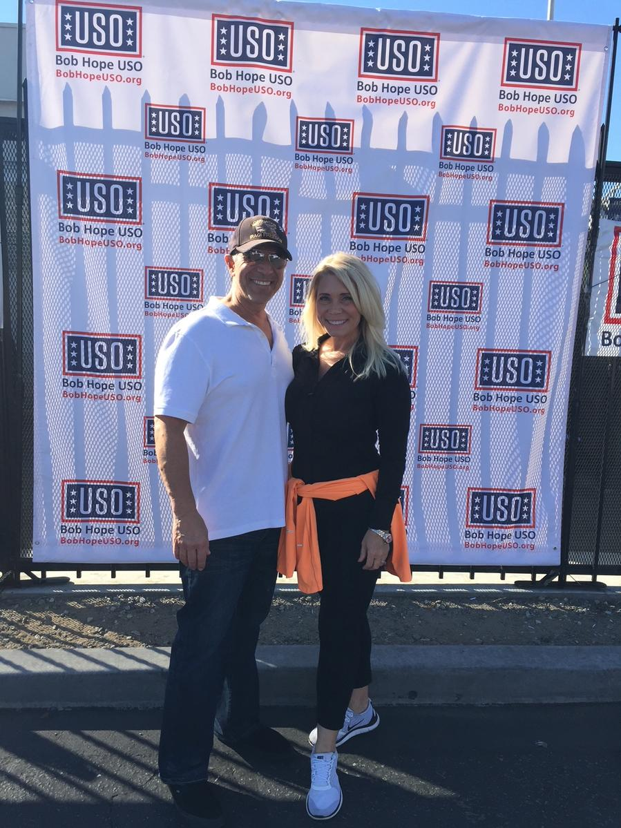 Jeff and Kimberly Bornstein after a performance during a USO Tour